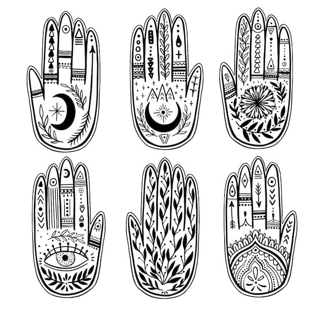 Palmistry del set di mani Vettore Premium
