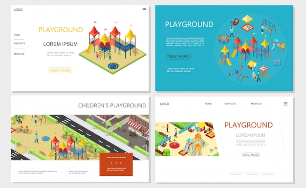 Panche per altalena di giochi per bambini isometrici con altalene e scivoli Vettore gratuito