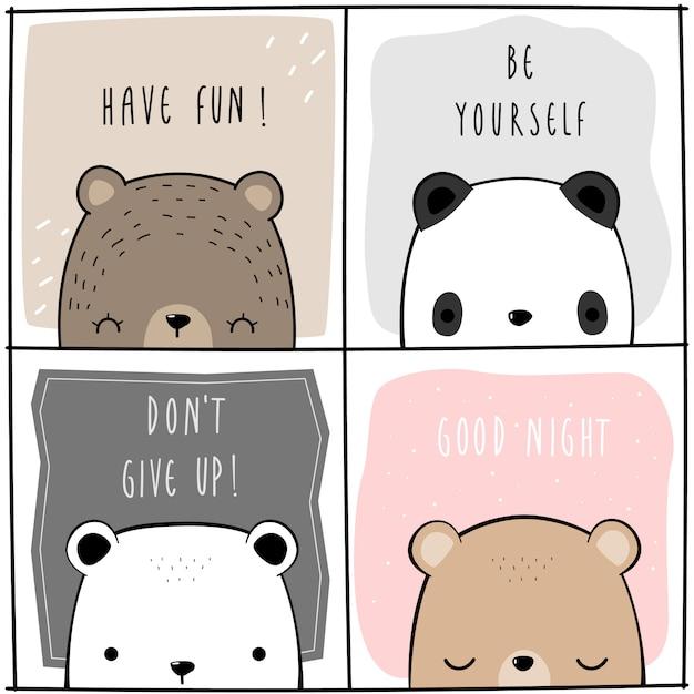 Panda adorabile sveglio dell'orsacchiotto polare con la carta del fumetto di citazione di motivazione Vettore Premium