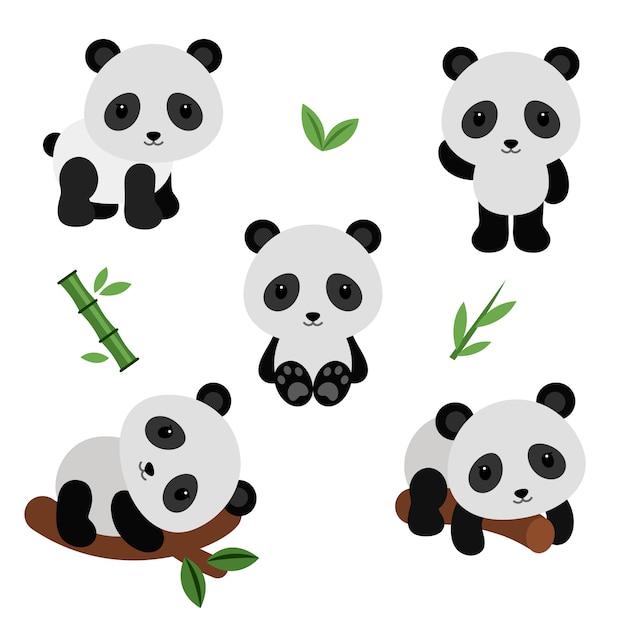 Panda adorabili in stile piatto. Vettore Premium