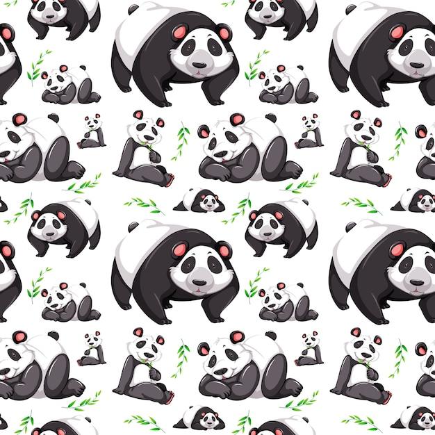 Panda bear sfondo senza soluzione di continuità Vettore gratuito
