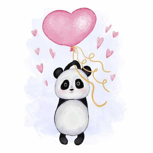 Panda carino con baloon cuore Vettore Premium
