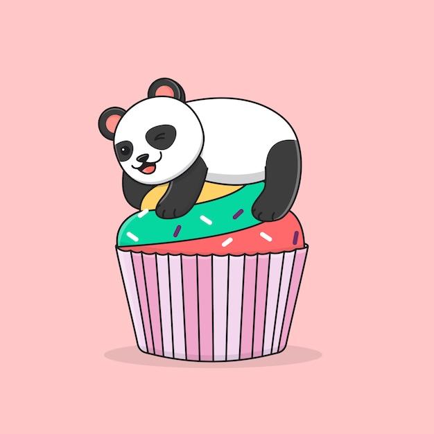 Panda carino con cupcake colorfull Vettore Premium