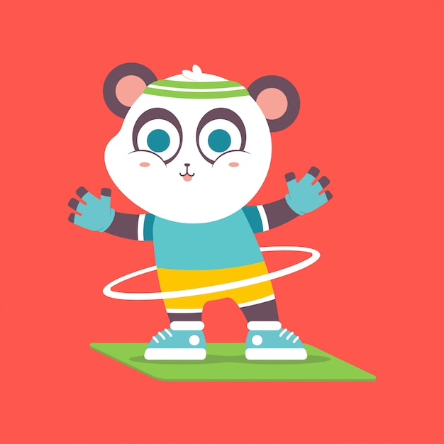 Panda carino con hula-hoop facendo esercizio fisico carattere. Vettore Premium