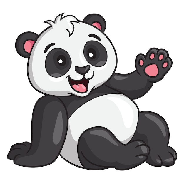 Panda cartoon style Vettore Premium