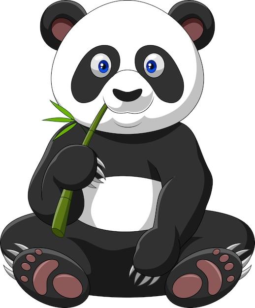 Panda del fumetto che mangia bambù Vettore Premium