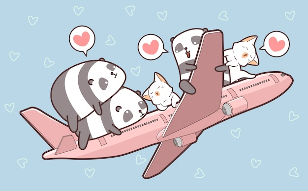 Panda e gatti carini e sull'aereo Vettore Premium