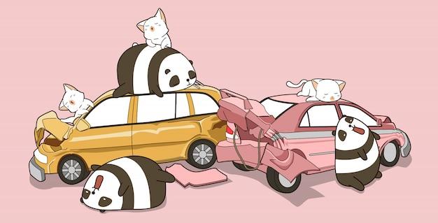Panda e gatti kawaii in caso di incidente d'auto. Vettore Premium