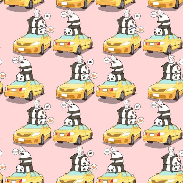 Panda e gatti senza cuciture sul modello giallo dell'automobile Vettore Premium