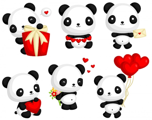 Panda in love vector set Vettore Premium