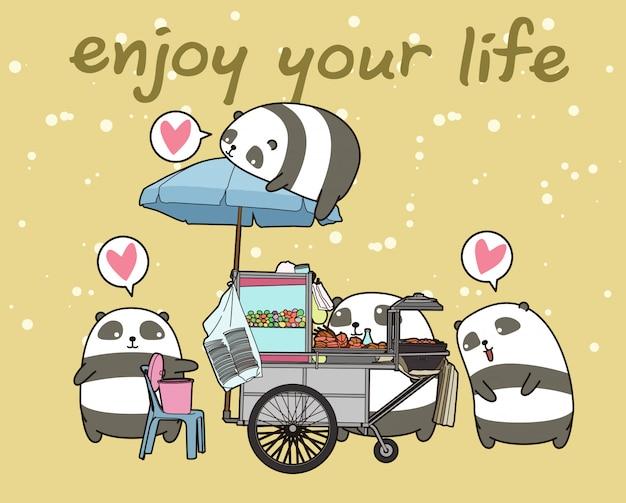 Panda kawaii con stallo portatile Vettore Premium