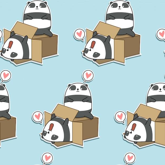 Panda kawaii senza soluzione di continuità e modello di scatola Vettore Premium