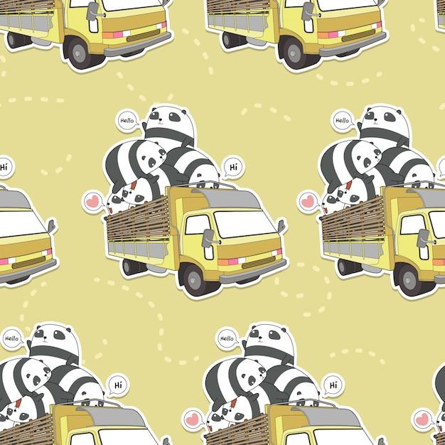 Panda kawaii senza soluzione di continuità sul modello di camion Vettore Premium