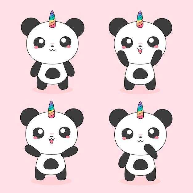 Panda magici unicorno Vettore Premium