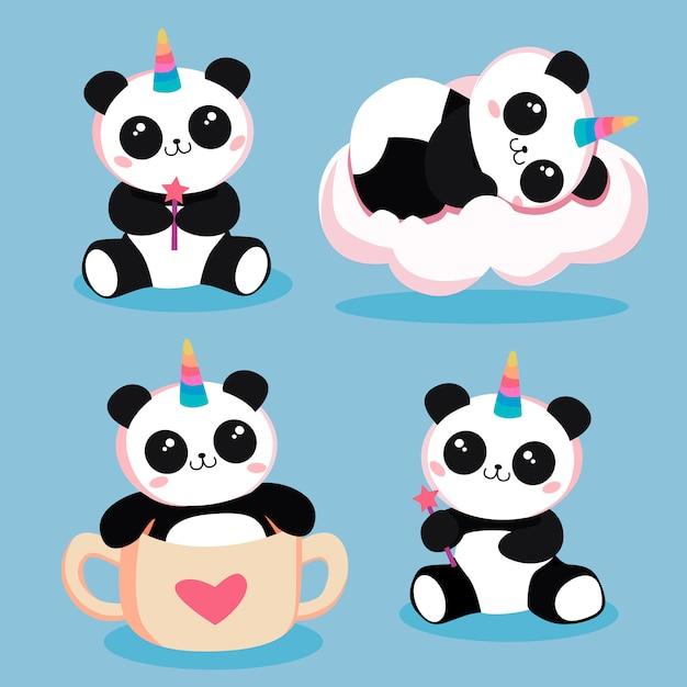 Panda magici Vettore Premium