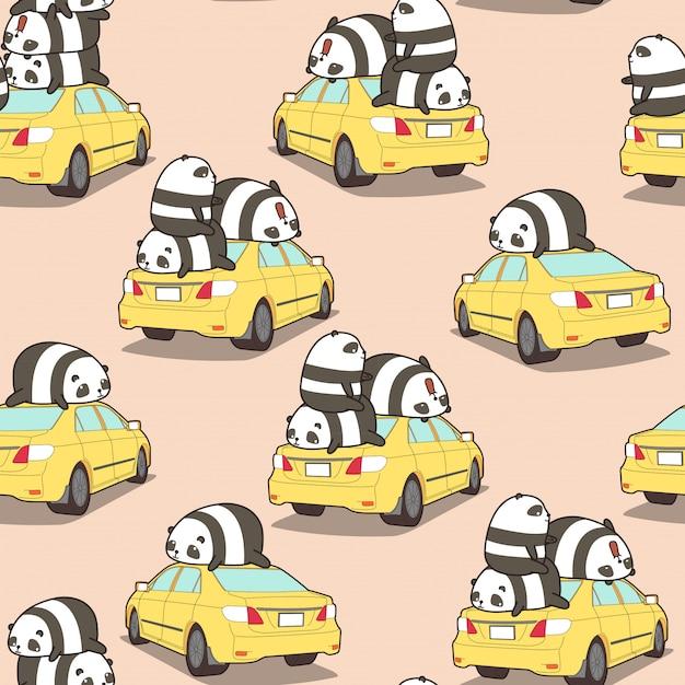Panda senza soluzione di continuità sul modello di auto gialla. Vettore Premium