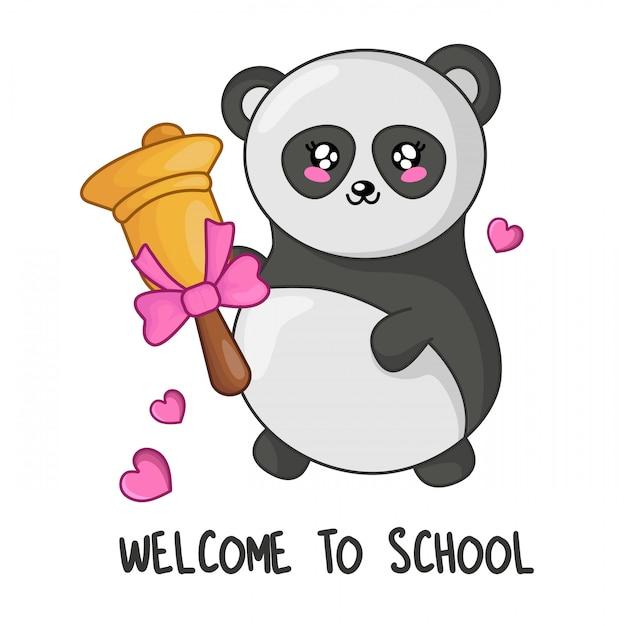 Panda simpatico cartone animato kawaii con campana d'oro, torna al concetto di scuola Vettore Premium