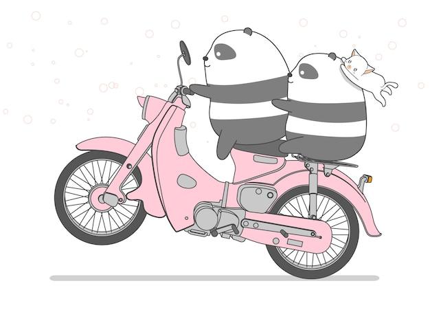 Panda sta cavalcando la moto in stile cartone animato. Vettore Premium