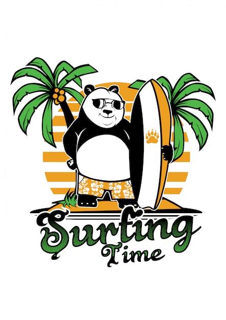 Panda surf Vettore Premium