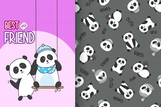 Panda sveglio disegnato a mano con l'insieme di vettore del modello Vettore Premium