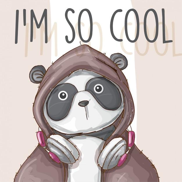 Panda-vettore sveglio animale disegnato a mano Vettore Premium