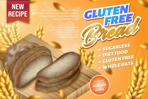 Pane integrale dell'avena naturale fresca messo sul bordo di legno Vettore Premium
