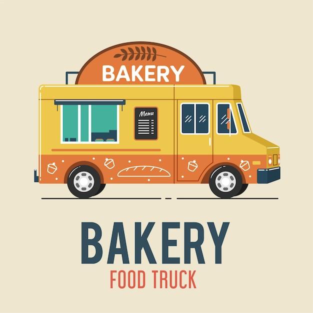Panificio food truck Vettore Premium
