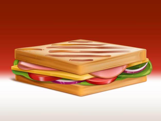 Panino con prosciutto, formaggio, pomodoro, cipolla e insalata tra due pezzi di pane tostato al tostapane Vettore gratuito