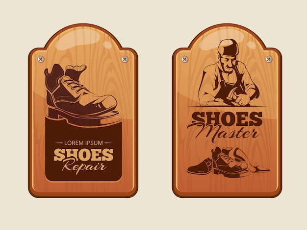 Pannelli pubblicitari in legno per officina riparazione calzature Vettore Premium