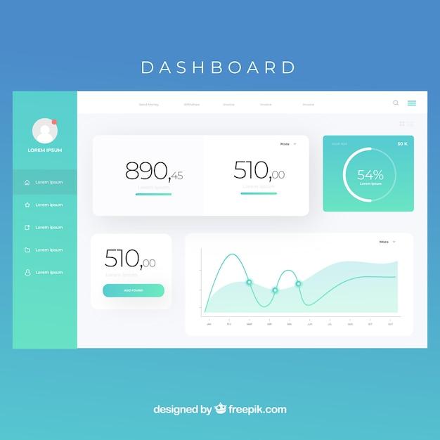 Pannello dashboard di amministrazione con stile sfumato Vettore gratuito