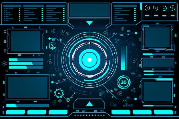 Pannello di controllo astratto tecnologia interfaccia hud Vettore Premium