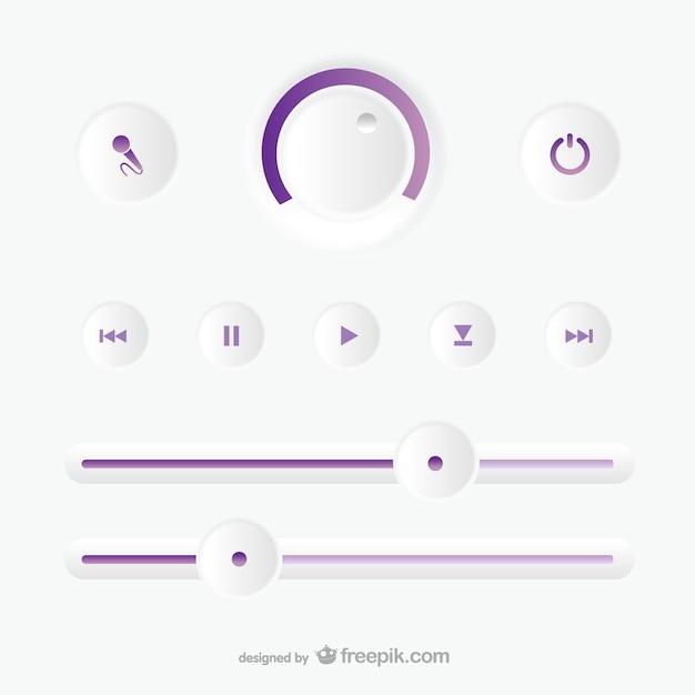 Pannello di controllo di registrazione audio Vettore gratuito