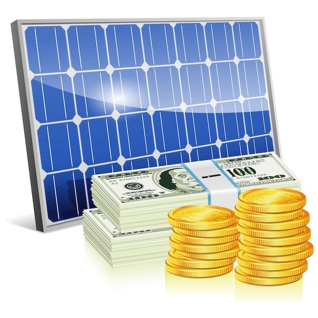 Pannello solare con denaro Vettore Premium