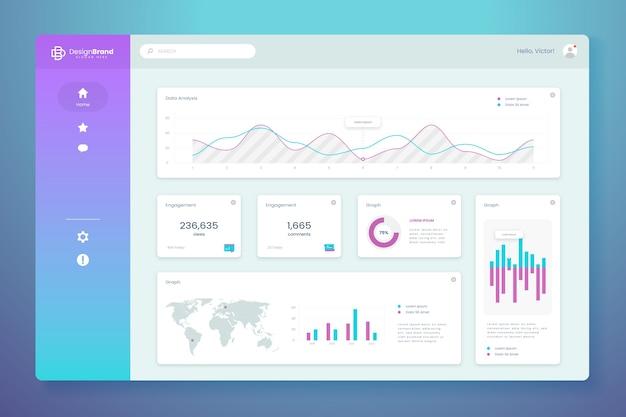Pannello utente dashboard infografica Vettore gratuito