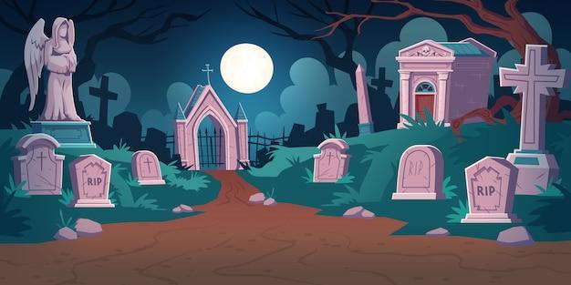 Panorama del cimitero di notte Vettore gratuito