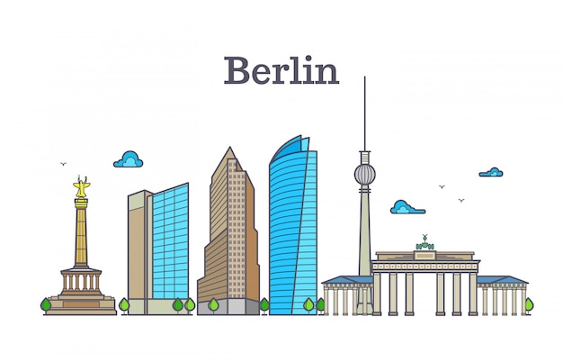Panorama dell'orizzonte della siluetta di berlino, illustrazione di vettore del paesaggio della città Vettore Premium