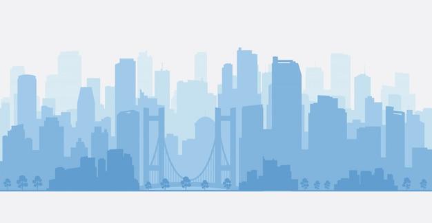 Panorama della città con grattacieli Vettore Premium