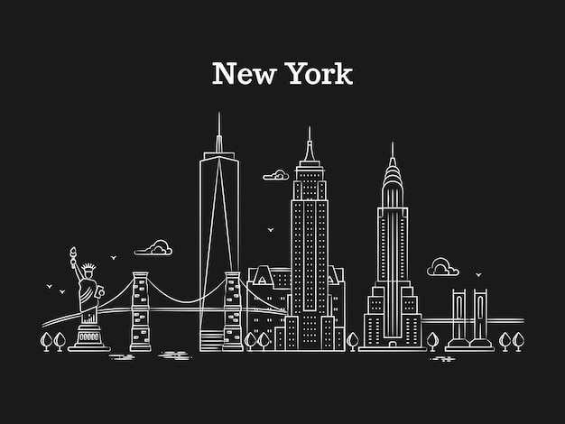 Panorama di new york lineare bianco con ponti Vettore Premium