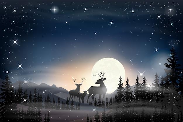 Panorama di panorama della notte stellata con la luna piena Vettore Premium