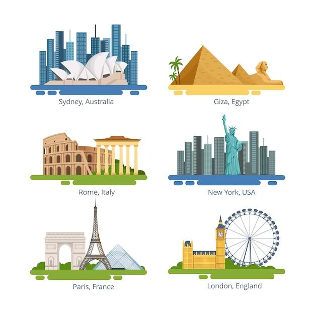Panorami di città diversi con monumenti famosi. set di illustrazioni vettoriali. famoso punto di riferimento per i viaggi Vettore Premium