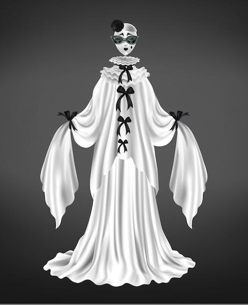 Pantomima pierrot personaggio femminile vestito, costume arlecchino, circo comico con maschera viso triste, maniche lunghe e abito bianco, illustrazione vettoriale realistico archi neri isolato Vettore gratuito