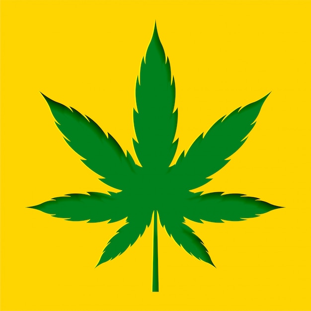 Papercut stile marijuana cannabis leaf design sfondo Vettore gratuito