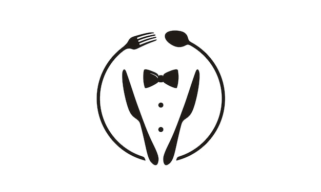 Papillon, smoking, logo utensil restaurant Vettore Premium