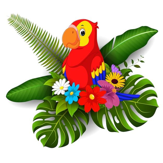 Pappagallo di cartone animato con fiore tropicale