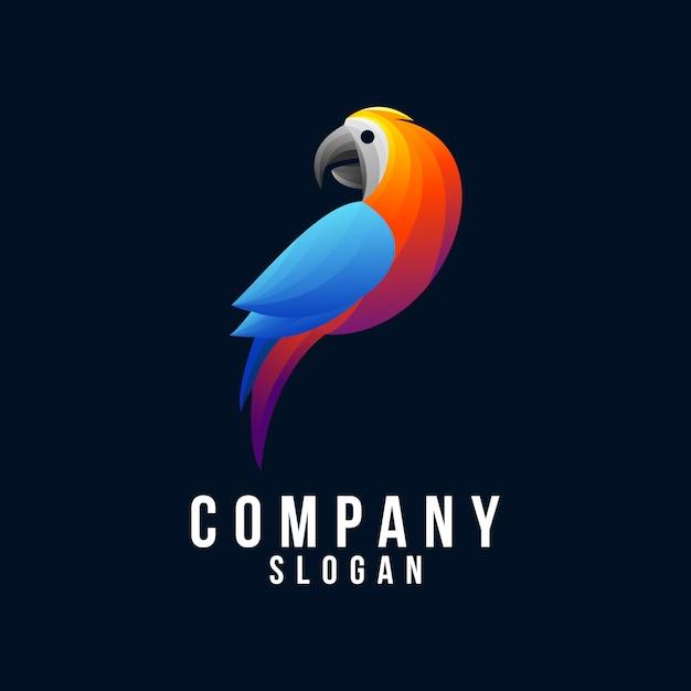 Pappagallo logo design 3d Vettore Premium