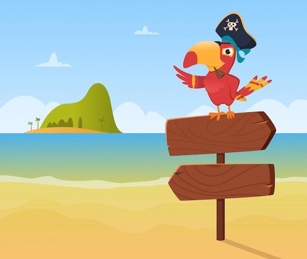 Pappagallo pirata. arara colorato divertente dell'uccello che si siede sul fondo di legno di direzione del segno nello stile del fumetto Vettore Premium