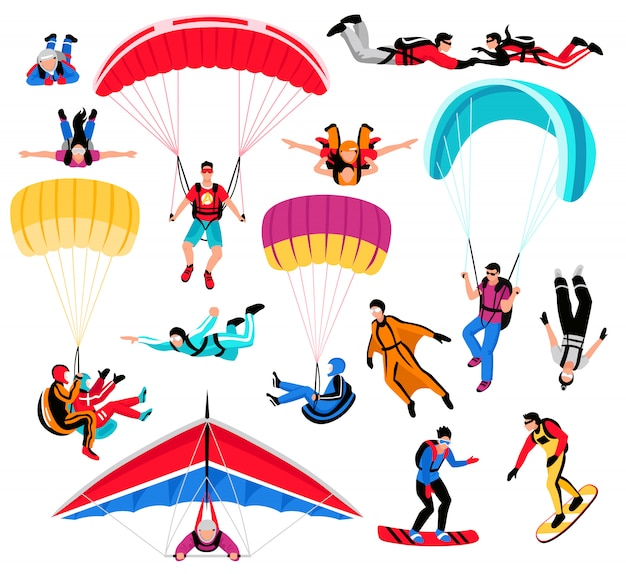 Paracadutismo amd extreme sports set Vettore gratuito