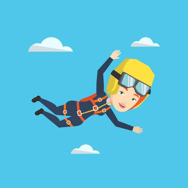 Paracadutista caucasico che salta con il paracadute. Vettore Premium