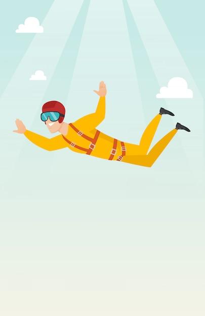 Paracadutista caucasico che salta con un paracadute Vettore Premium