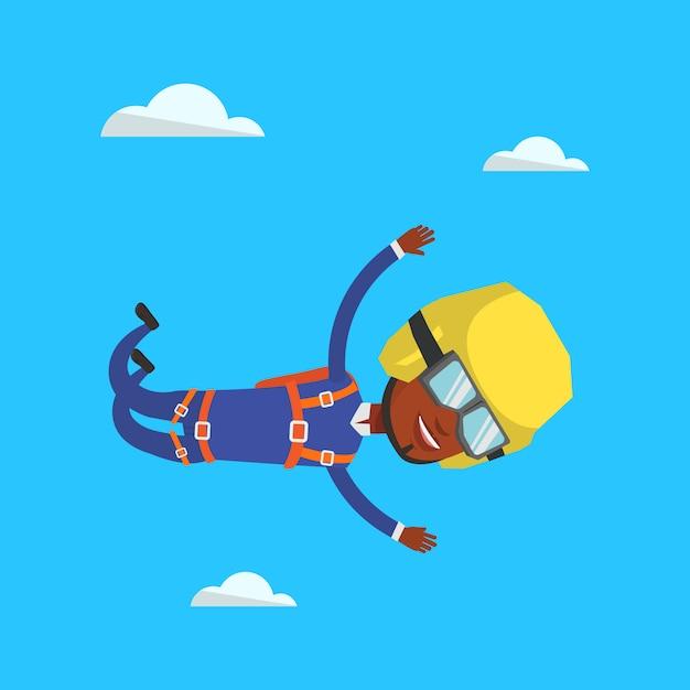 Paracadutista che salta con il paracadute. Vettore Premium